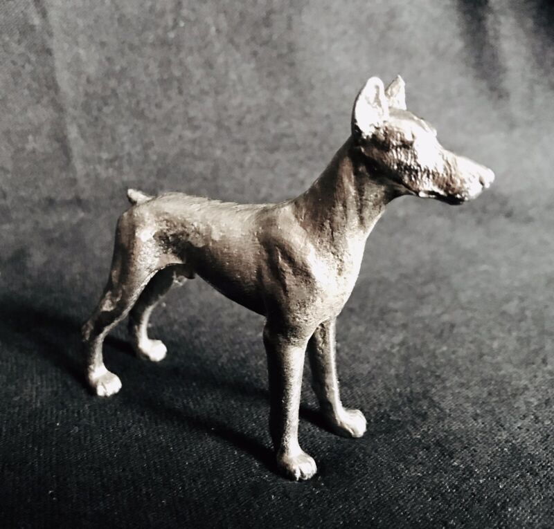 Pewter DOBERMAN PINSCHER Dog Silver Metal Statue Figurine R