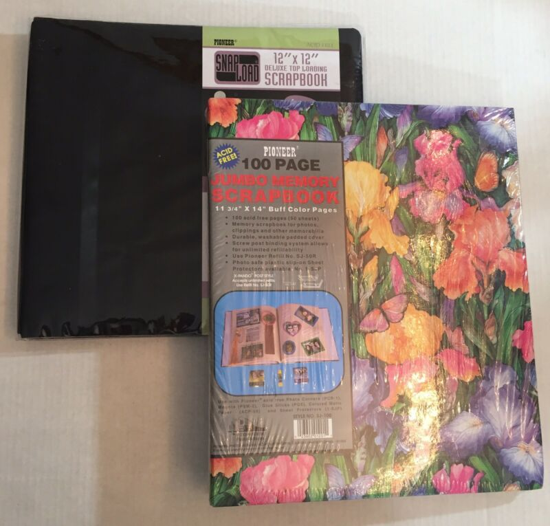 Lot of 2 Pioneer Scrapbooks Black Floral