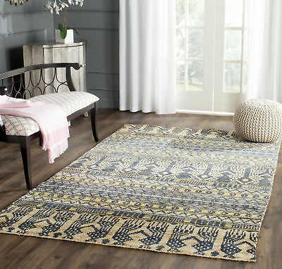 Safavieh Bohemian Hand Knotted BLUE / BEIGE Jute Area Rug - BOH648A (Bohemian Jute Area Rug)