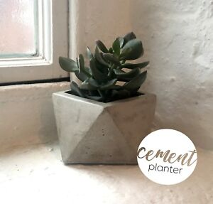 Modern handmade geometric cement concrete grey planter vase pot gift