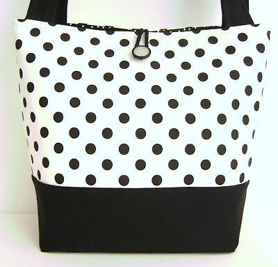Fashion Polka Dot Tote - BLACK AND WHITE POLKA DOT HANDBAG PURSE TOTE BAG POCKETBOOK RETRO MOD FASHION