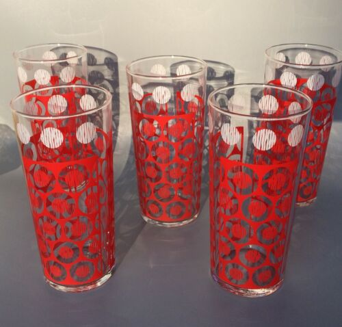 Vintage LIBBEY (5) Tall Drinking Glasses with Red and White Dot Design - Retro