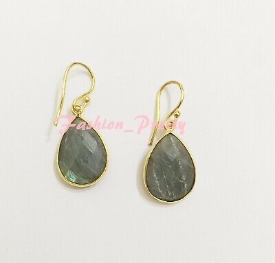 Super Pretty 12 Carat Labradorite Teardrop Earrings in 18 Karat Gold Overlay