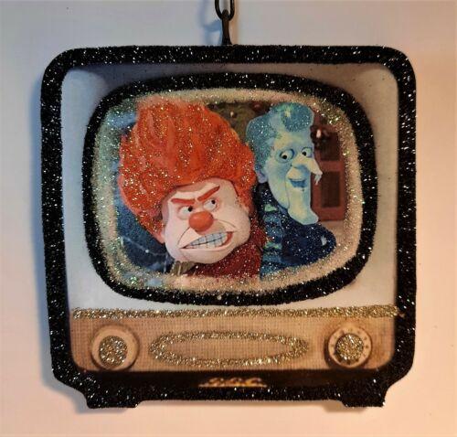 RETRO TELEVISION - MISER BROTHERS, HEAT SNOW Glitter CHRISTMAS ORNAMENT *Vtg Img