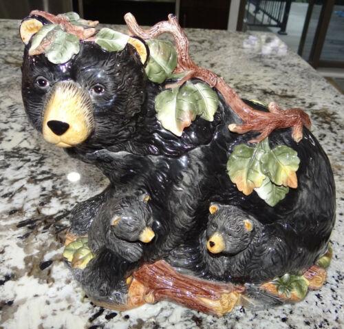 Paris BeeBee Black Bear Cookie Jar Family Mother Sow w Cubs Vtg Rare