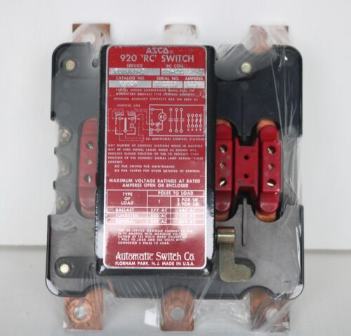 """Used (Excellent Condition) Asco 9205P / 920 """"RC"""" Switch   *120 Volt/ 150 Amp"""