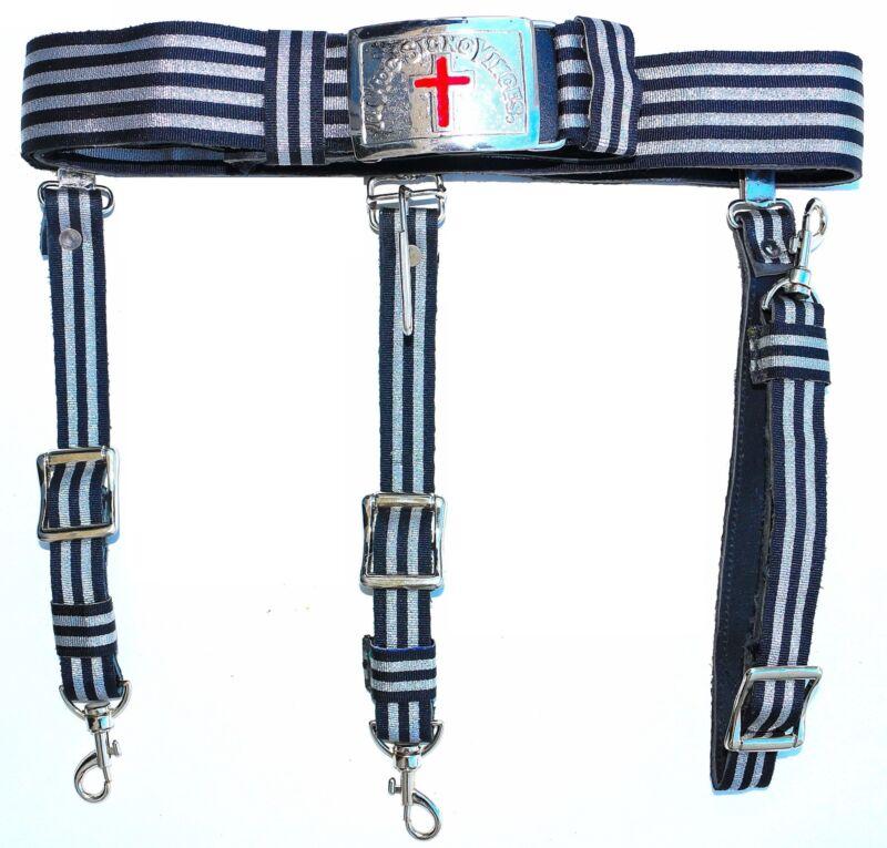 KNIGHTS TEMPLAR Black & Silver Sword Belt & Buckle for Sir Knight  Waist Size 40