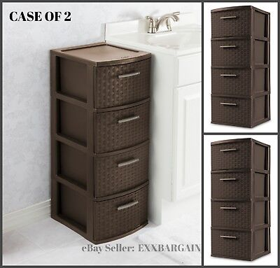 4 Drawer Storage Cabinet Weave Cart Plastic Home Office Organizer Brown Set of 2