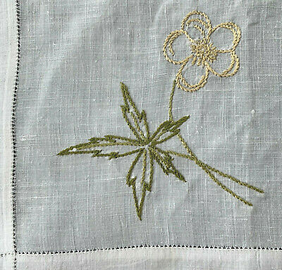 Edwardian Table Center  18.5 sq  embroidered Arts /& Crafts style water lilies bobbin lace  Victorian Antique Vintage Linen Runner