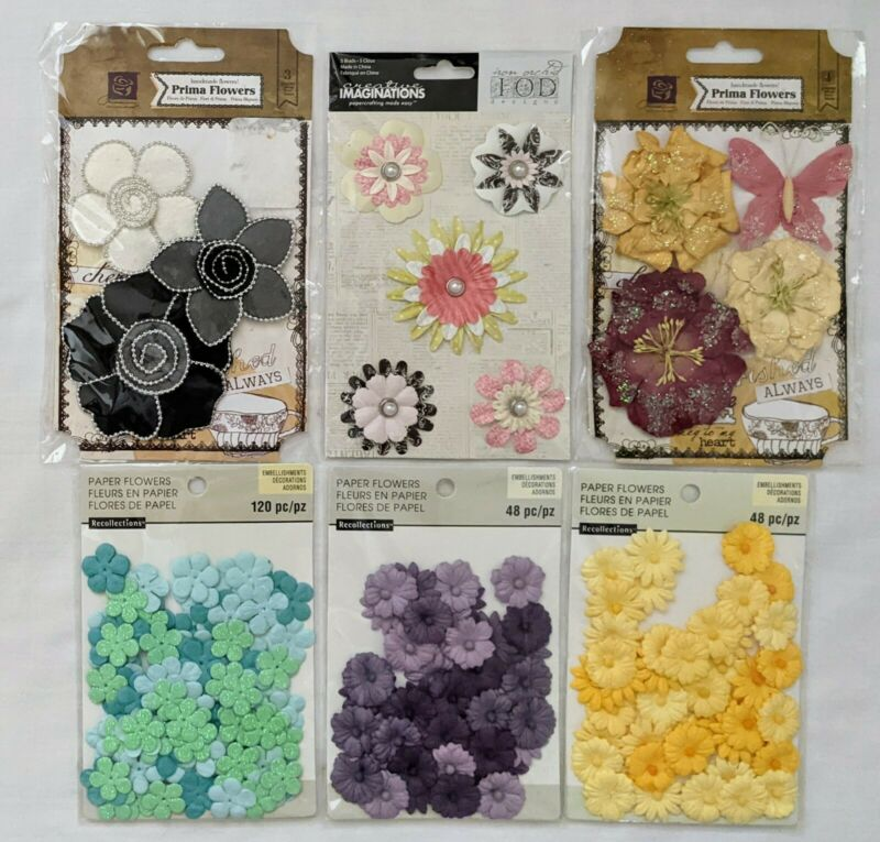 Paper & Fabric Flowers Scrapbooking Embellishments Recollections Prima Lot of 6