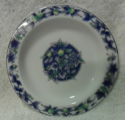 Floral Bread Dessert Lunch 6 inch Plate blue green yellow flowers berries Blue Floral Lunch Plate