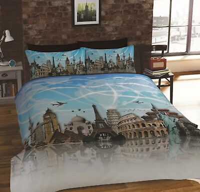 Rapport All Around The World Famous Landmarks Places Duvet Cover Bedding Set (Landmarks Around The World)