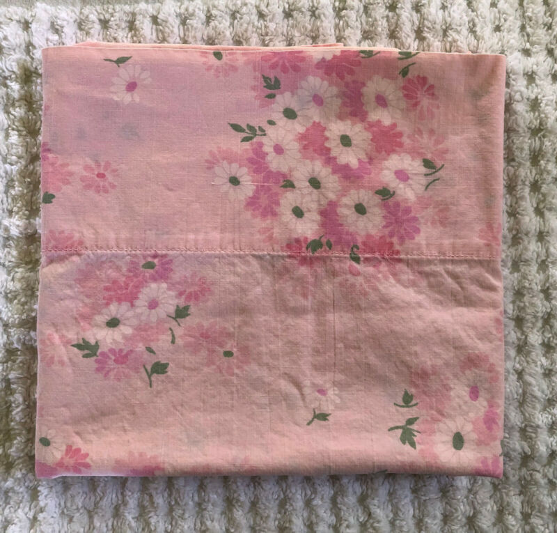 Single Vintage Pillowcase Pink Floral Wamsutta Lustercale