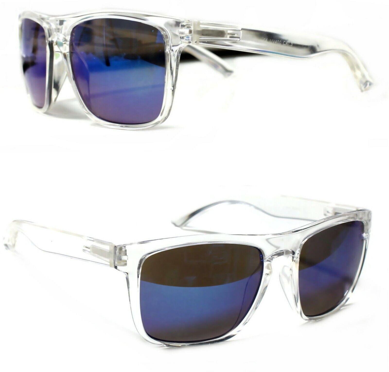 Damen Herren Sonnenbrille Transparent Groß Rechteckig Verspiegelt Blau T20