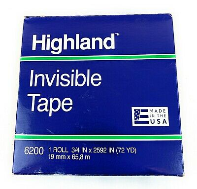 Highland 6200 Invisible Tape 34 X 2592 3 Core - New 1 Roll