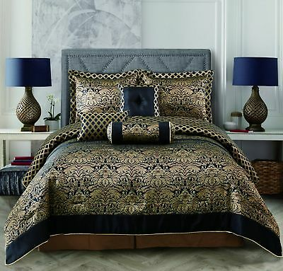 - 10 Piece Over Size Jacquard Comforter Sheet set Black Gold Queen Size