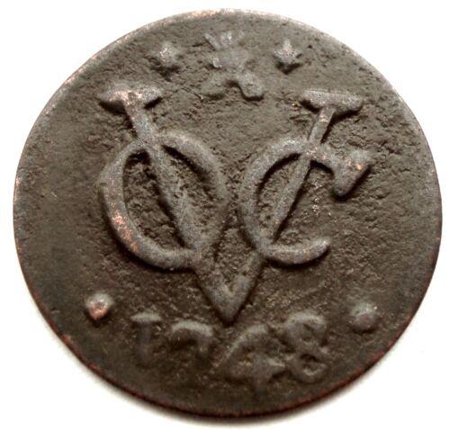NETHERLANDS EAST INDIES, VOC ZEELAND 1 DUIT 1748 KM#152.2 SS2.2
