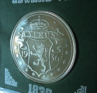 1936 Cyprus King Edward VIII Abdicated Pattern Crown Coin (UNC) in Display Case
