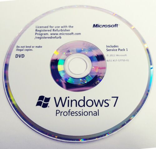 Windows 7 Professional SP1 CD Compact Disc Only ~ No Key or COA