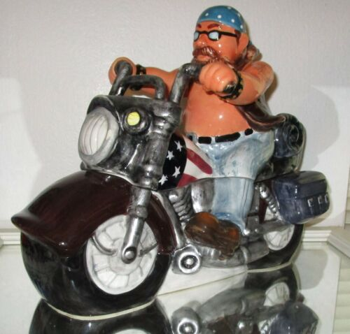 MOTORCYCLE COOKIE JAR BY POPULAR CREATIONS AWESOME LOOKING BIKER RIDING WOW SALE