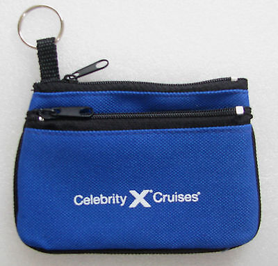 Celebrity Cruises   Coin Purse   2 Zippered Compartments   Blue   Black   New