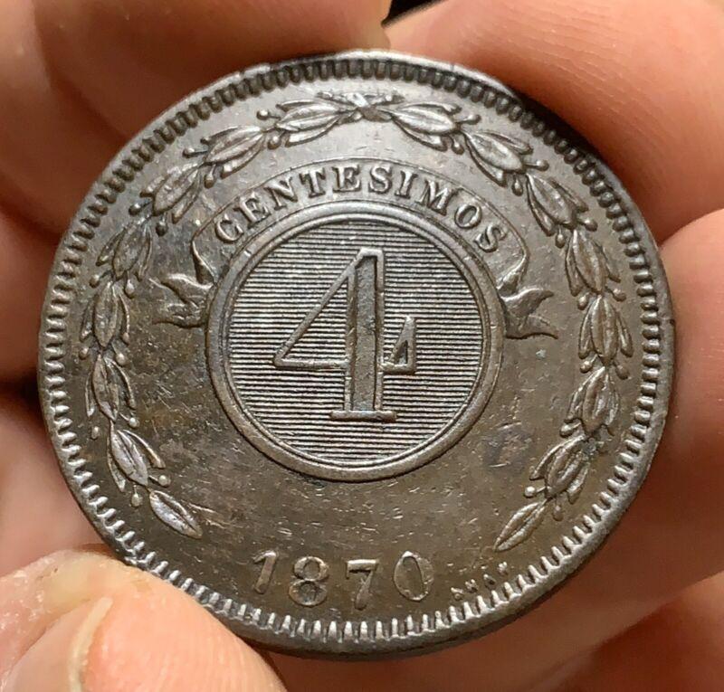 1870 REPUBLICA DEL PARAGUAY 4 Centesimos XF+ Chocolate Brown & Attractive
