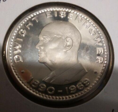 Rare 1970 Ras Al Khaimah Large Silver Proof 10 Riyals Eisenhower