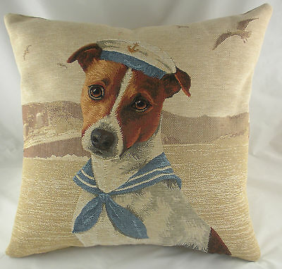 "18"" SEA DOGS SAILOR JACK RUSSELL Dog Belgian Tapestry Cushion Evans Lichfield"