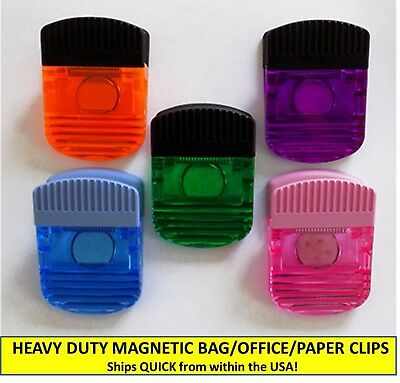Set Of 5 Heavy Duty Translucent Magnetic Clips