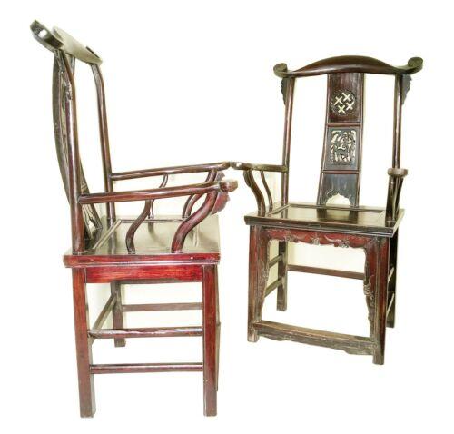 Antique Chinese High Back Arm Chairs (3374) (Pair), Circa 1800-1849