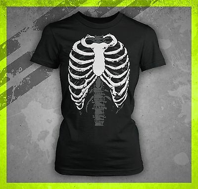 SKELETON BODY HALLOWEEN COSTUME RIB CAGE FUNNY TRICK OT TREAT JR LADIES T-SHIRT