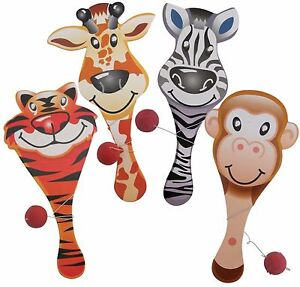 Bulk Lot 5 Kids Novelty ZOO ANIMALS 23cm Paddle Bat Ball Game NEW Party Favor