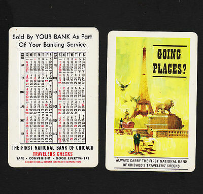 1960 First National Bank of Chicago Travelers Check Pocket Calendar