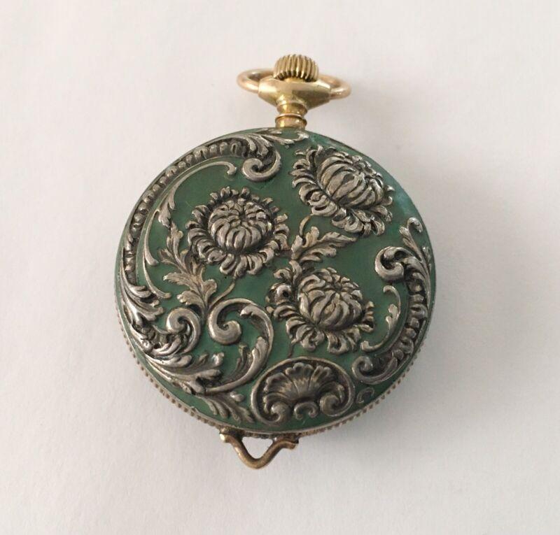 Antique Art Nouveau Sterling Green Enamel Watch With Flowers