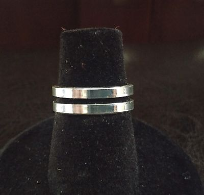 New Toe Ring Silver Plated - Polished Double Band - USA Seller