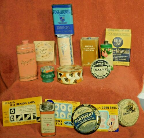 Vintage Medicine 16 Tins Bathroom Cabinet Contents Tobacco 1940s-60s Advertising