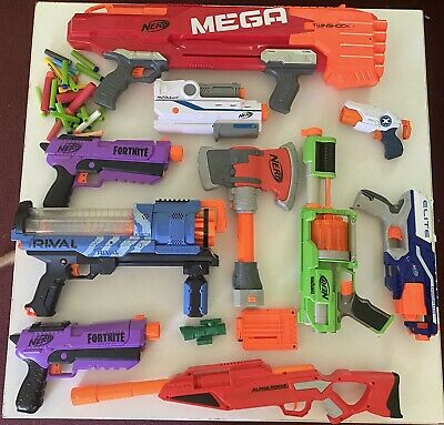 Nerf Gun And Accessories Lot Mega Twinshot Fortnite Rival 3000 Axe And More