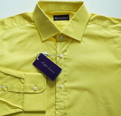 NWT RALPH LAUREN PURPLE LABEL Yellow 100% Cotton Long-Sleeve Dress Shirt 17.5