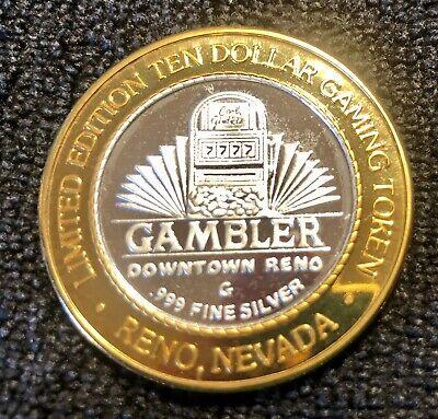 "Gambler Casino Downtown Reno Nevada $10  .999 Silver Strike ""7777 Winner"""