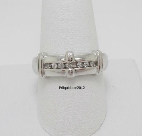 1/5CT MENS DIAMOND MILGRAIN WEDDING BAND RING 10K WHITE GOLD