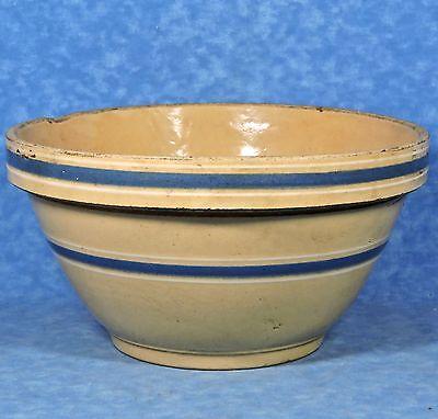 Antique WATT Yellow Ware #10 Blue & White Band Pottery Mixing Bowl
