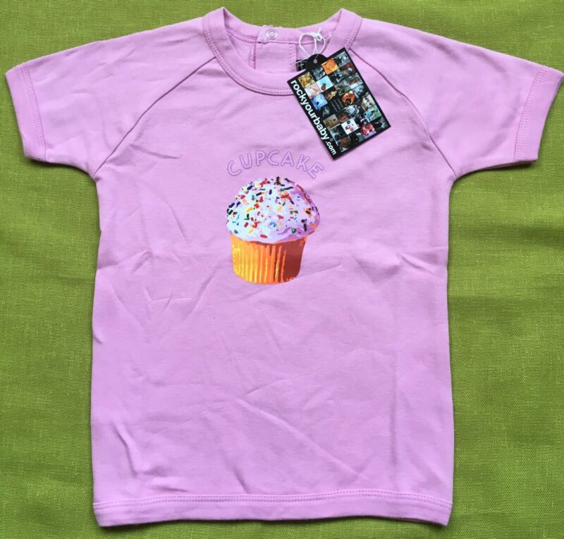 BNWT+Pink+Cupcake+Tshirt+By+Rock+Your+Baby+Short+Slv+3+Years