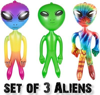 "SET OF 3 - Assorted 36"" Alien Inflatable Blow Up Inflate - Rainbow-Green-Tie Dye for sale  Northport"
