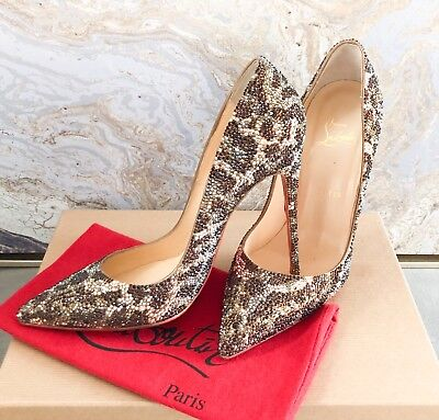 Christian Louboutin Pigalle Leopard Strass Crystal Embellished Pump Size 39
