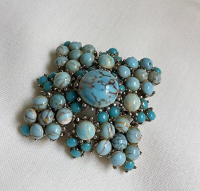 VINTAGE 1950s SIGNED SPHINX TURQUOISE CABOCHON BROOCH PIN