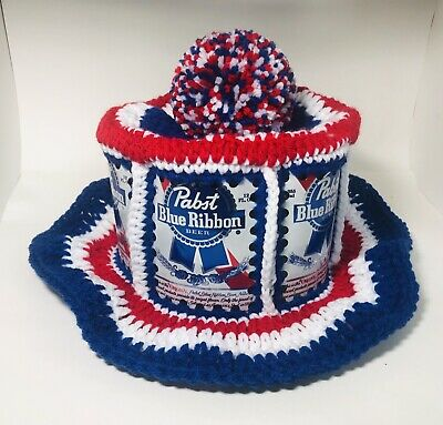 NEW Handmade Crochet PABST BLUE RIBBON Beer Can Hat Retro Hipster USA Party Cap
