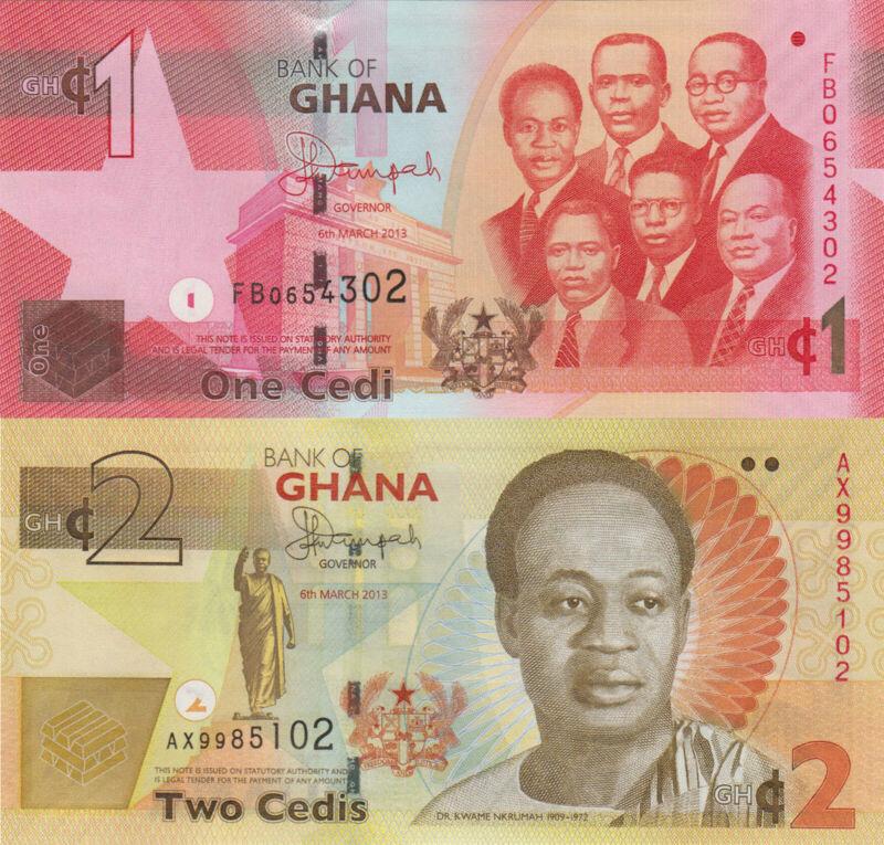 Ghana 2 Note Set: 1 & 2 Cedis (06.03.2013) - p37d & p37Ab UNC