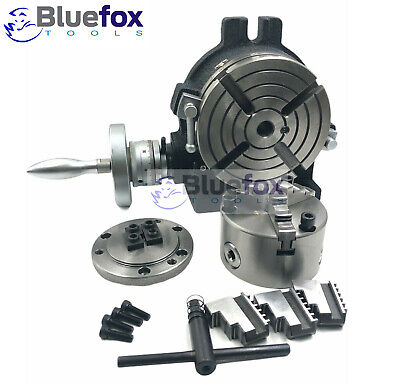 6 Horizontal Vertical Rotary Table W. Adapter 3-jaw Chuck