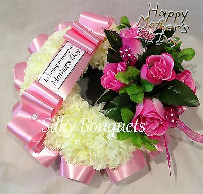 Mothers Day Artificial Silk Rose Funeral Flower Wreath Tribute Grave Mum Nan
