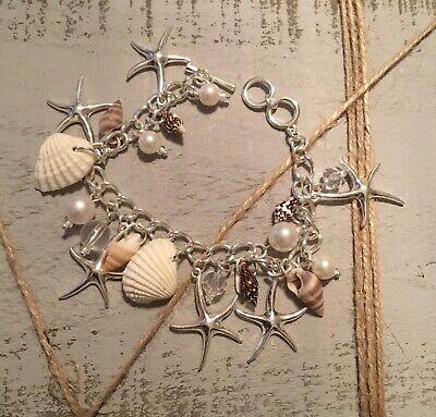 NEW! Silvertone and Pearl Beaded Sea Life Charm Toggle Bracelet - Pearl Beaded Toggle